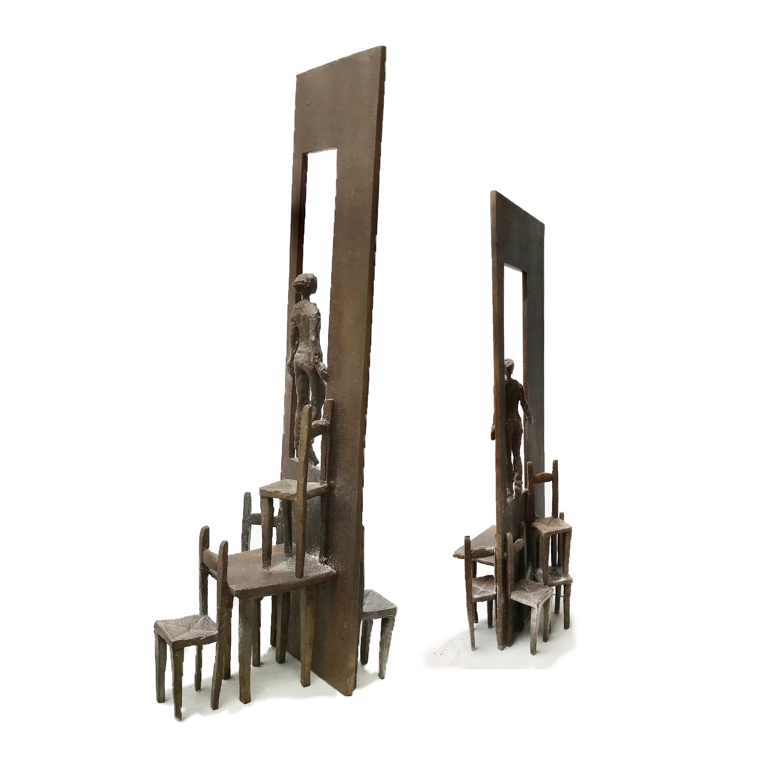 sculpture tables et chaises bronze