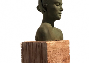 Opening inside ,bronze wood stone sculpture by Beatrice Bizot